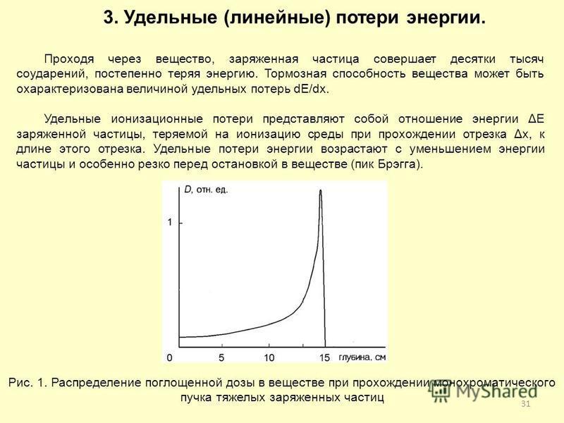 31 3. Удельные (линейные) потери энергии. Проходя через вещество, заряженная частица совершает десятки тысяч соударений, постепенно теряя энергию. Тормозная способность вещества может быть охарактеризована величиной удельных потерь dE/dx. Удельные ио