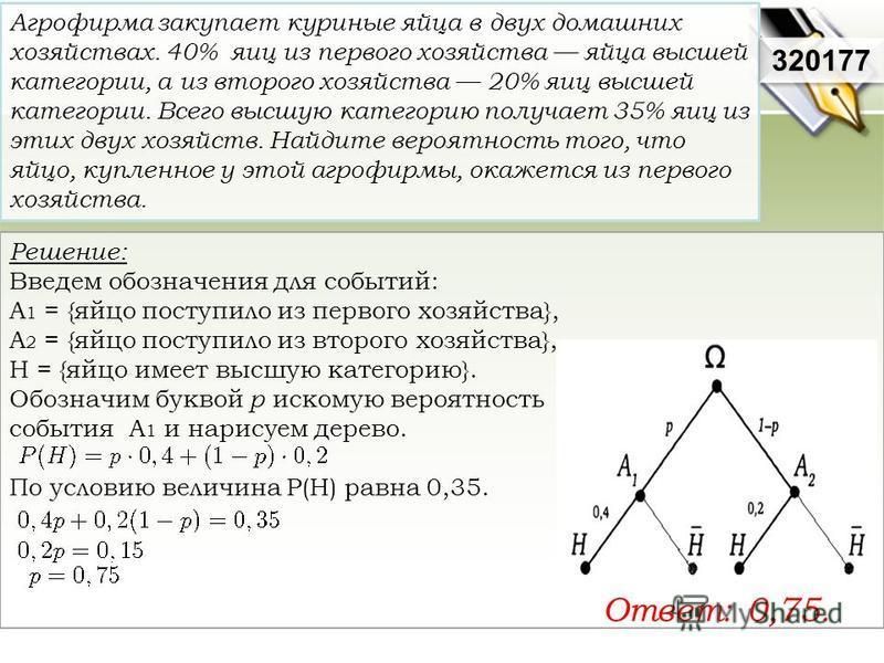 Решение: Введем обозначения для событий: А 1 = {яйцо поступило из первого хозяйства}, А 2 = {яйцо поступило из второго хозяйства}, H = {яйцо имеет высшую категорию}. Обозначим буквой p искомую вероятность события А 1 и нарисуем дерево. По условию вел