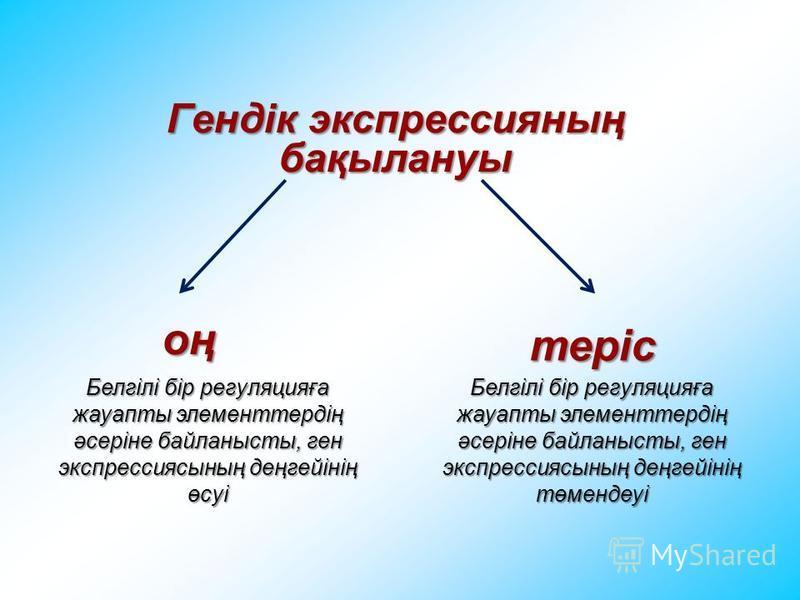 Гендік экспрессияның бақылануы оң теріс Белгілі бір регуляцияға жауапты элементтердің әсеріне байланысты, ген экспрессиясының деңгейінің өсуі Белгілі бір регуляцияға жауапты элементтердің әсеріне байланысты, ген экспрессиясының деңгейінің төмендеуі