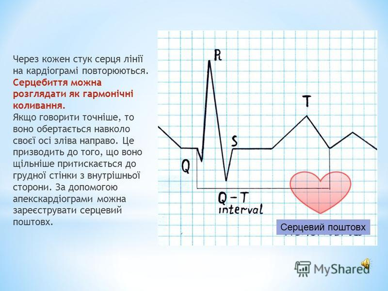 Через кожен стук серця лінії на кардіограмі повторюються. Серцебиття можна розглядати як гармонічні коливання. Якщо говорити точніше, то воно обертається навколо своєї осі зліва направо. Це призводить до того, що воно щільніше притискається до грудно