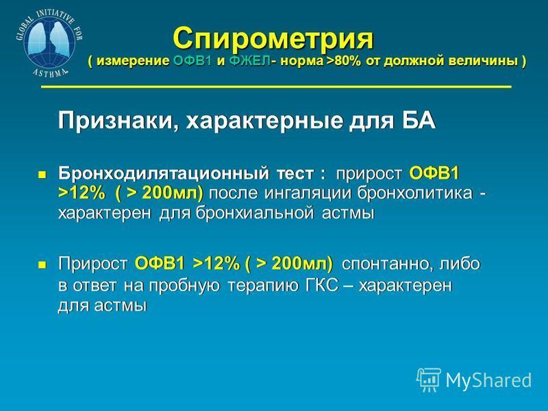 Спирометрия Спирометрия ( измерение ОФВ1 и ФЖЕЛ- норма >80% от должной величины ) Признаки, характерные для БА Бронходилятационный тест : прирост ОФВ1 >12% ( > 200 мл) после ингаляции бронхолитина - характерен для бронхиальной астмы Прирост ОФВ1 >12%