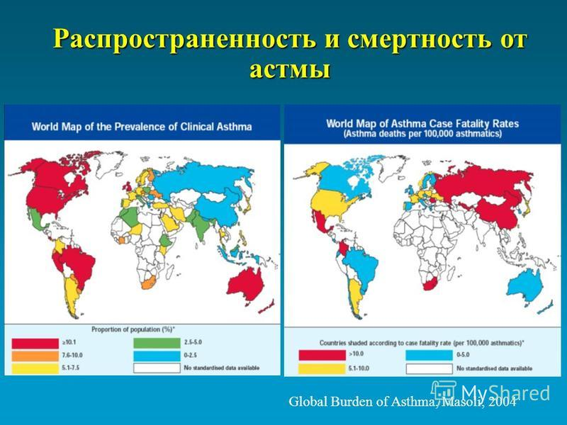 Global Burden of Asthma, Masoli, 2004 Распространенность и смертность от астмы