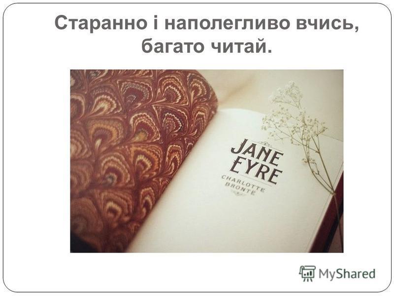 Старанно і наполегливо вчись, багато читай.