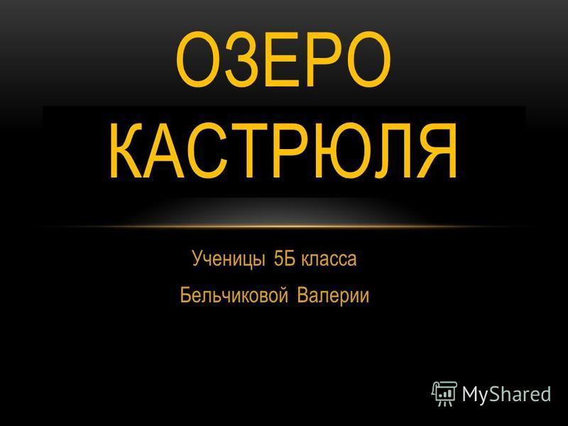 Ученицы 5Б класса Бельчиковой Валерии ОЗЕРО КАСТРЮЛЯ