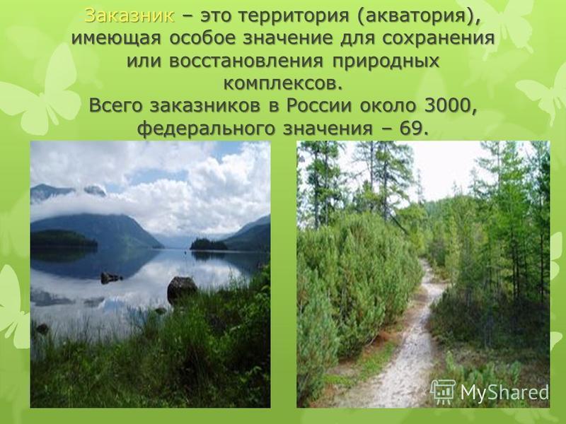 Заказник – это территория (акватория), имеющая особое значение для сохранения или восстановления природных комплексов. Всего заказников в России около 3000, федерального значения – 69.