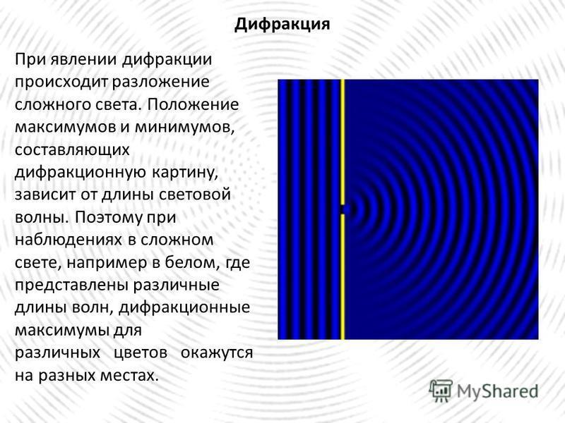 Дифракция При явлении дифракции происходит разложение сложного света. Положение максимумов и минимумов, составляющих дифракционную картину, зависит от длины световой волны. Поэтому при наблюдениях в сложном свете, например в белом, где представлены р