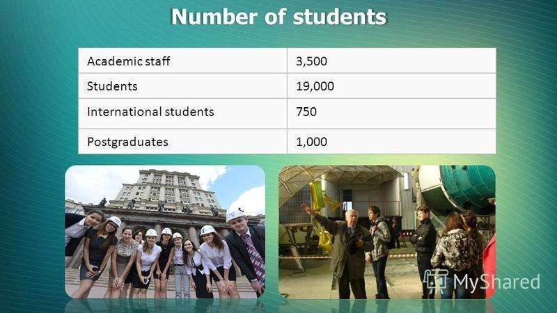 Academic staff3,500 Students19,000 International students750 Postgraduates1,000 Number of students
