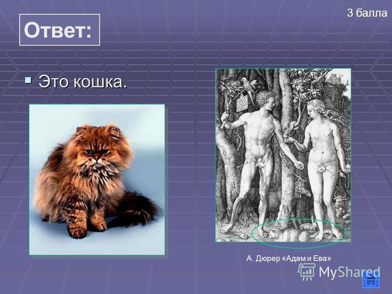 Ответ: Это кошка. Это кошка. 3 балла А. Дюрер «Адам и Ева»