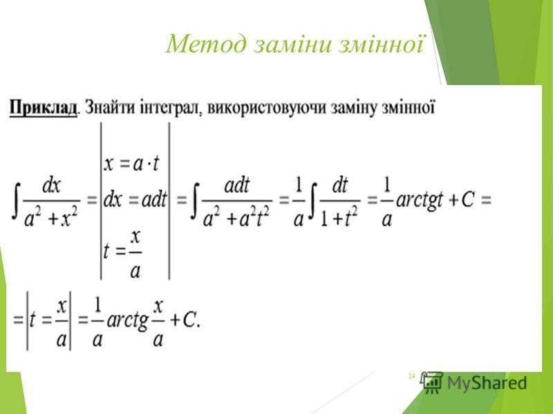 Метод заміни змінної 14