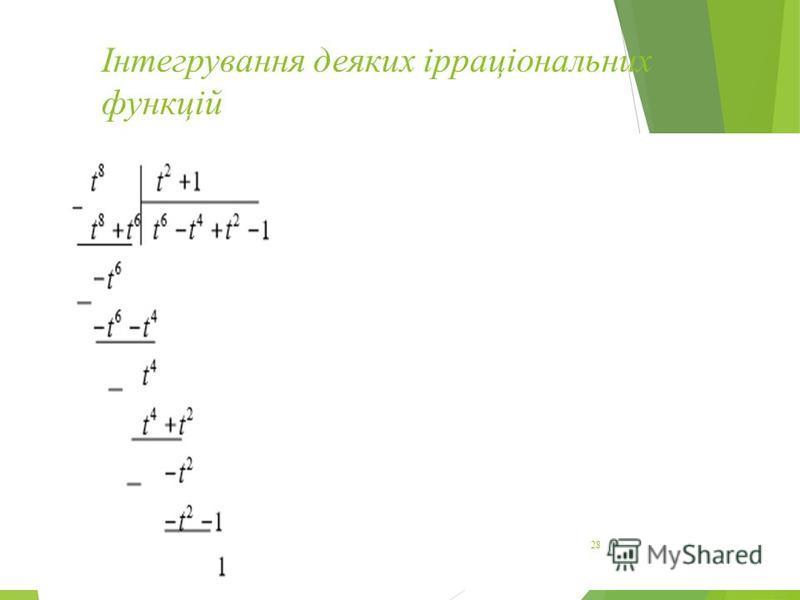 Інтегрування деяких ірраціональних функцій 28