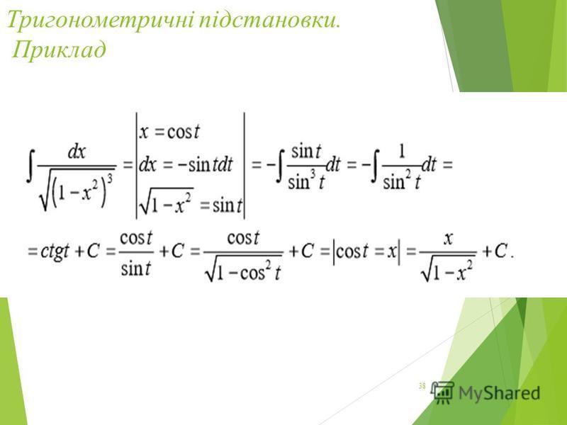 Тригонометричні підстановки. Приклад 38