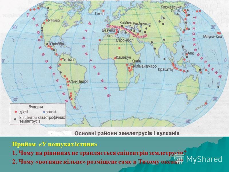 Прийом «У пошуках істини» 1. Чому на рівнинах не трапляється епіцентрів землетрусів? 2. Чому «вогняне кільце» розміщене саме в Тихому океані?