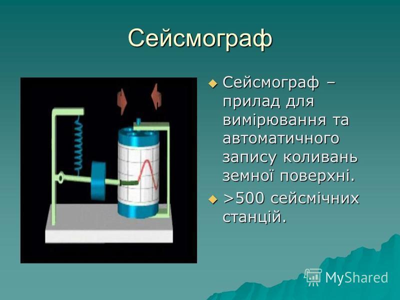 Сейсмограф Сейсмограф – прилад для вимірювання та автоматичного запису коливань земної поверхні. Сейсмограф – прилад для вимірювання та автоматичного запису коливань земної поверхні. >500 сейсмічних станцій. >500 сейсмічних станцій.