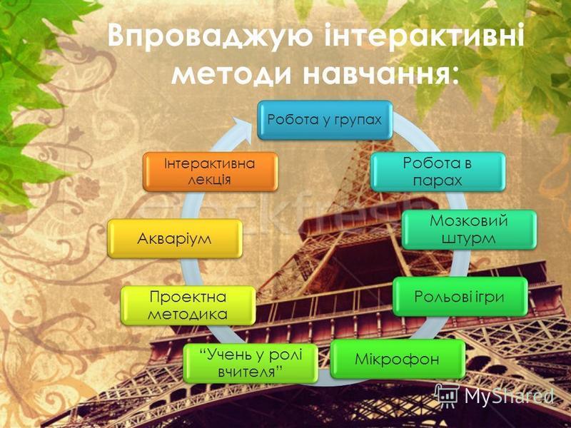 Впроваджую інтерактивні методи навчання: Робота у групах Робота в парах Мозковий штурм Рольові ігриМікрофон Учень у ролі вчителя Проектна методика Акваріум Інтерактивна лекція