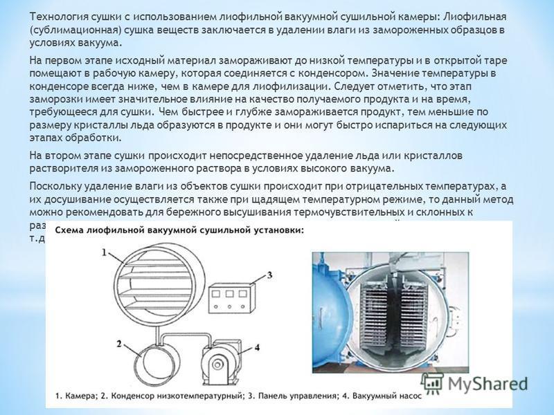 Технология сушки с использованием лиофильной вакуумной сушильной камеры: Лиофильная (сублимационная) сушка веществ заключается в удалении влаги из замороженных образцов в условиях вакуума. На первом этапе исходный материал замораживают до низкой темп