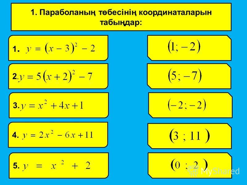 1. Параболаның төбесінің координаталарын табыңдар: 1.1. 2.2. 3. 4. 5.