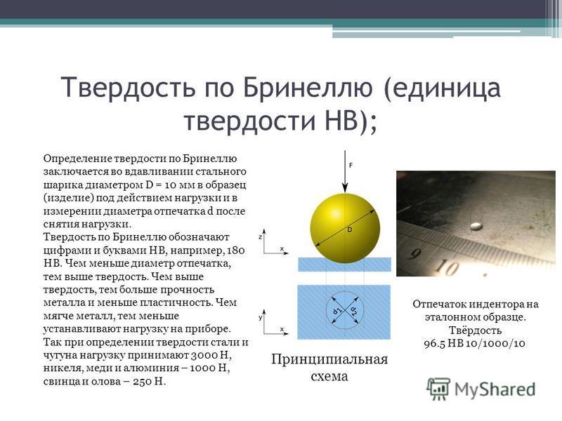 Твердость по Бринеллю (единица твердости HB); Определение твердости по Бринеллю заключается во вдавливании стального шарика диаметром D = 10 мм в образец (изделие) под действием нагрузки и в измерении диаметра отпечатка d после снятия нагрузки. Тверд