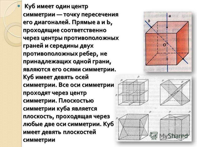 Куб имеет один центр симметрии точку пересечения его диагоналей. Прямые а и Ь, проходящие соответственно через центры противоположных граней и середины двух противоположных ребер, не принадлежащих одной грани, являются его осями симметрии. Куб имеет