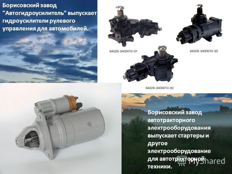 Борисовский завод Автогидроусилитель выпускает гидроусилители рулевого управления для автомобилей. Борисовский завод автотракторного электрооборудования выпускает стартеры и другое электрооборудование для автотракторной техники.