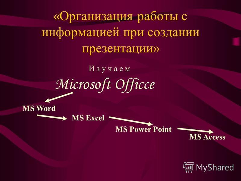 «Организация работы с информацией при создании презентации» Microsoft Officce И з у ч а е м MS Word MS Excel MS Power Point MS Access