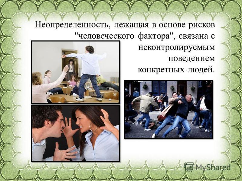 Неопределенность, лежащая в основе рисков человеческого фактора, связана с неконтролируемым поведением конкретных людей.