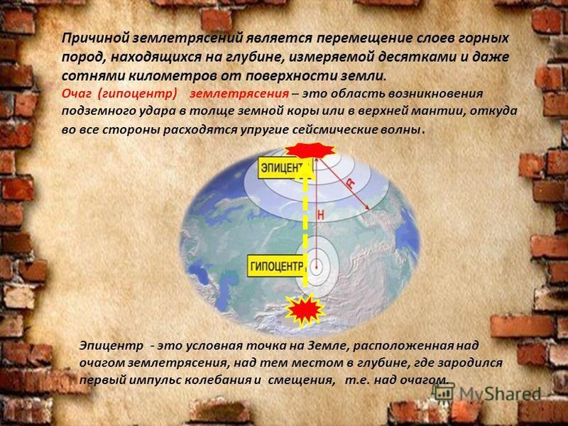 Причиной землетрясений является перемещение слоев горных пород, находящихся на глубине, измеряемой десятками и даже сотнями километров от поверхности земли. Очаг (гипоцентр) землетрясения – это область возникновения подземного удара в толще земной ко