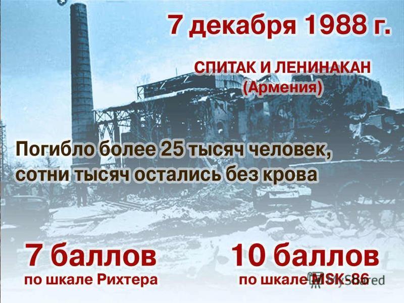 7 декабря 1988 года, на севере Армении произошло катастрофическое 9 балльное землетрясение. Оно унесло свыше 25 тысяч человеческих жизней и искалечило судьбы многих сотен тысяч людей. Полностью разрушены города: Ленинакан, Спитак, Кировокан и др.