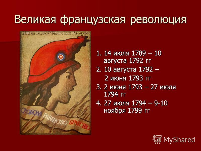 Великая французская революция 1. 14 июля 1789 – 10 августа 1792 гг 2. 10 августа 1792 – 2 июня 1793 гг 2 июня 1793 гг 3. 2 июня 1793 – 27 июля 1794 гг 4. 27 июля 1794 – 9-10 ноября 1799 гг