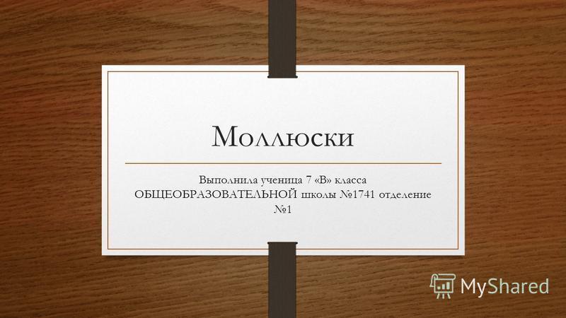 Моллюски Выполнила ученица 7 «В» класса ОБЩЕОБРАЗОВАТЕЛЬНОЙ школы 1741 отделение 1