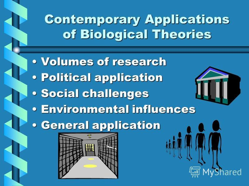 Contemporary Applications of Biological Theories Volumes of researchVolumes of research Political applicationPolitical application Social challengesSocial challenges Environmental influencesEnvironmental influences General applicationGeneral applicat