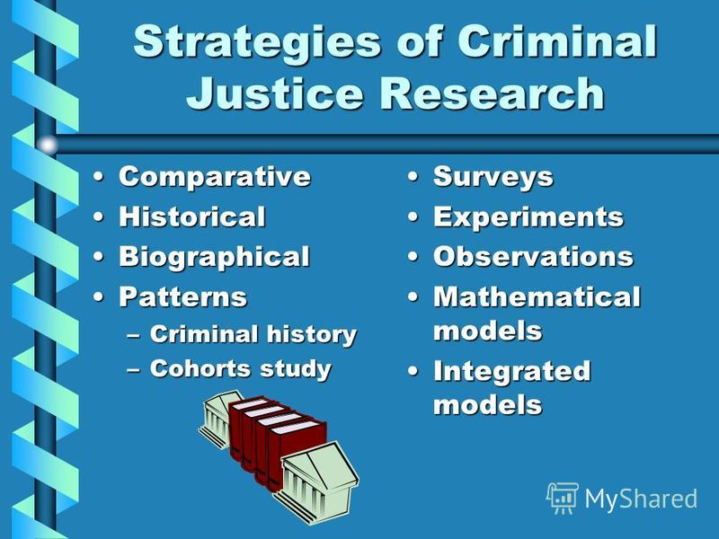 Strategies of Criminal Justice Research ComparativeComparative HistoricalHistorical BiographicalBiographical PatternsPatterns –Criminal history –Cohorts study Surveys Experiments Observations Mathematical models Integrated models