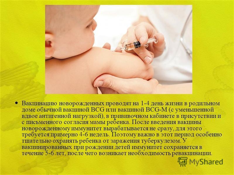 Вакцинацию новорожденных проводят на 1-4 день жизни в родильном доме обычной вакциной BCG или вакциной BCG-M (с уменьшенной вдвое антигенной нагрузкой), в прививочном кабинете в присутствии и с письменного согласия мамы ребенка. После введения вакцин