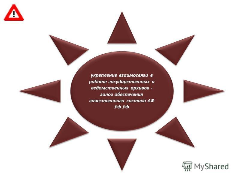 укрепление взаимосвязи в работе государственных и ведомственных архивов - залог обеспечения качественного состава АФ РФ РФ