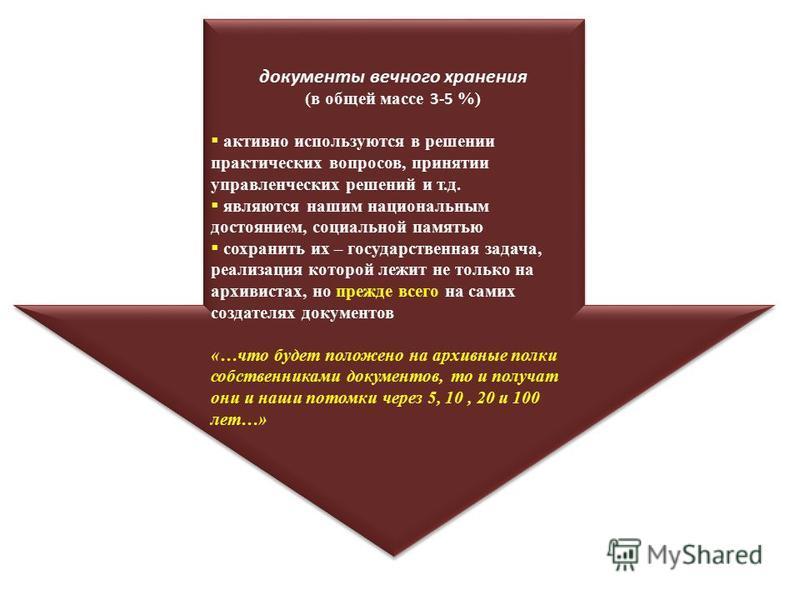 документы вечного хранения (в общей массе 3-5 %) активно используются в решении практических вопросов, принятии управленческих решений и т.д. являются нашим национальным достоянием, социальной памятью сохранить их – государственная задача, реализация