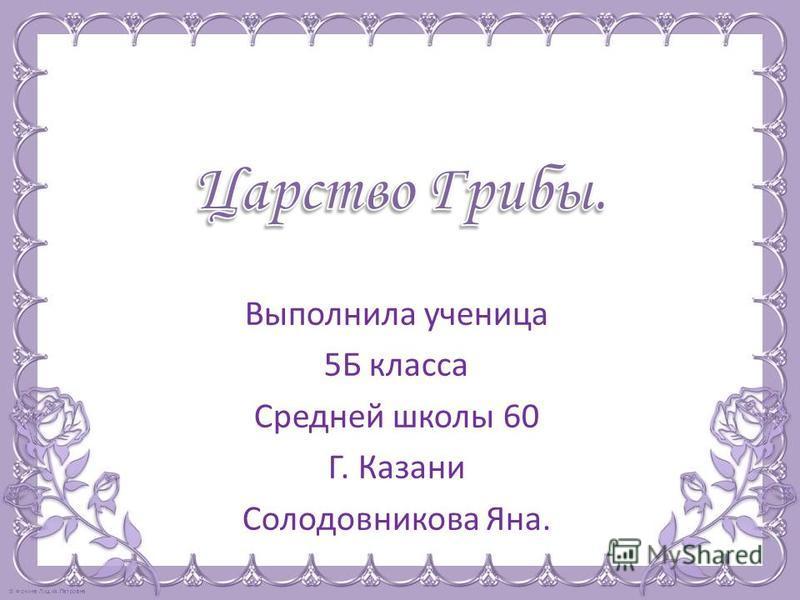 Выполнила ученица 5Б класса Средней школы 60 Г. Казани Солодовникова Яна.