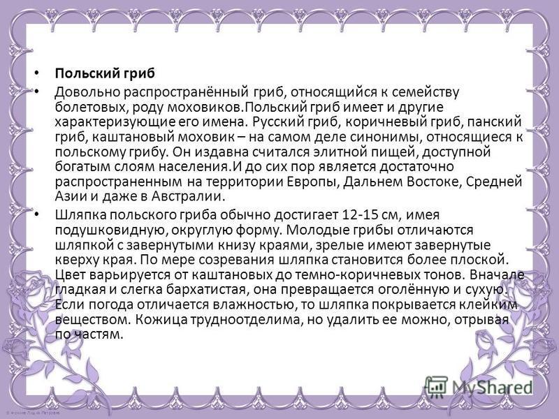 Польский гриб Довольно распространённый гриб, относящийся к семейству болетовых, роду моховиков.Польский гриб имеет и другие характеризующие его имена. Русский гриб, коричневый гриб, панский гриб, каштановый моховик – на самом деле синонимы, относящи