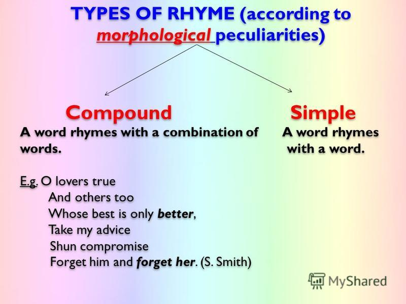 TYPES OF RHYME (according to morphological peculiarities) Compound Simple A word rhymes with a combination of A word rhymes words. with a word. E.g. O lovers true And others too Whose best is only better, Take my advice Shun compromise Forget him and