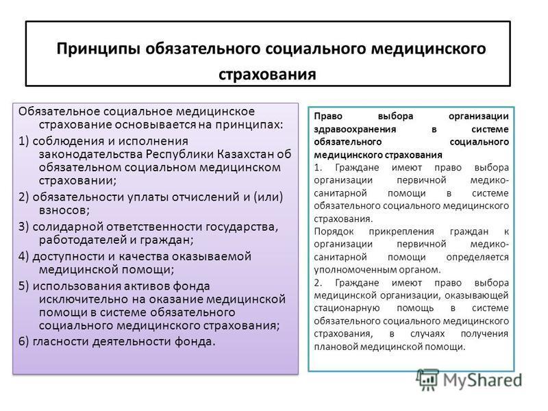 Принципы обязательного социального медицинского страхования Обязательное социальное медицинское страхование основывается на принципах: 1) соблюдения и исполнения законодательства Республики Казахстан об обязательном социальном медицинском страховании