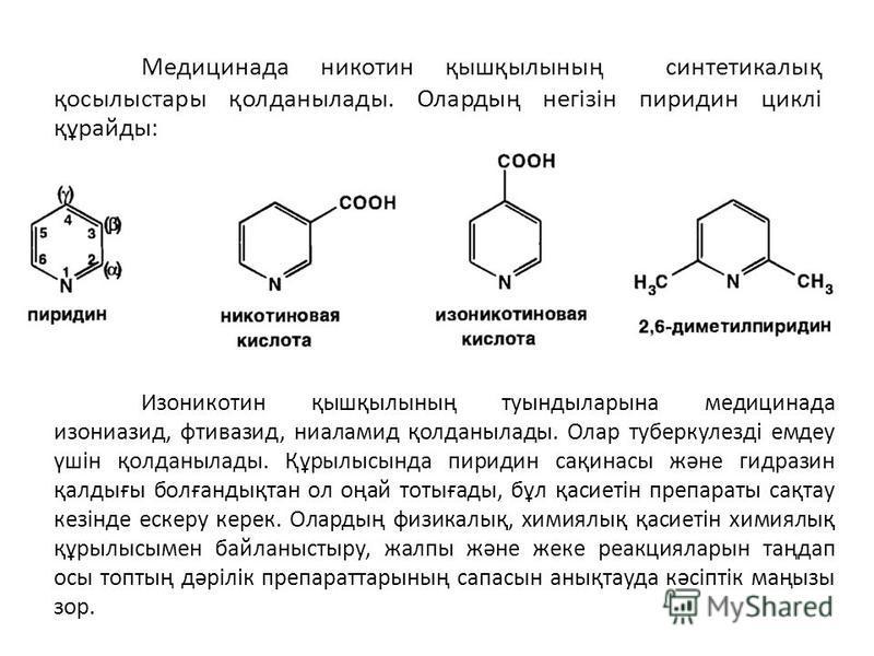 Медицинада никотин қышқылының синтетикалық қосылыстары қолданылады. Олардың негізін пиридин циклі құрайды: Изоникотин қышқылының туындыларына медицинада изониазид, фтивазид, ниаламид қолданылады. Олар туберкулезді емдеу үшін қолданылады. Құрылысында