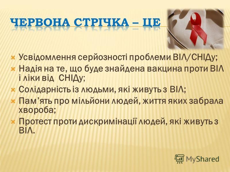 Усвідомлення серйозності проблеми ВІЛ/СНІДу; Надія на те, що буде знайдена вакцина проти ВІЛ і ліки від СНІДу; Солідарність із людьми, які живуть з ВІЛ; Память про мільйони людей, життя яких забрала хвороба; Протест проти дискримінації людей, які жив