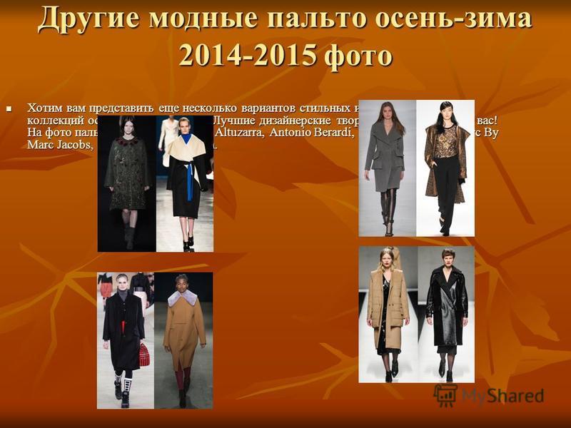 Другие модные пальто осень-зима 2014-2015 фото Хотим вам представить еще несколько вариантов стильных и модных пальто из коллекций осень-зима 2014-2015. Лучшие дизайнерские творения специально для вас! На фото пальто от Alberta Ferretti, Altuzarra, A