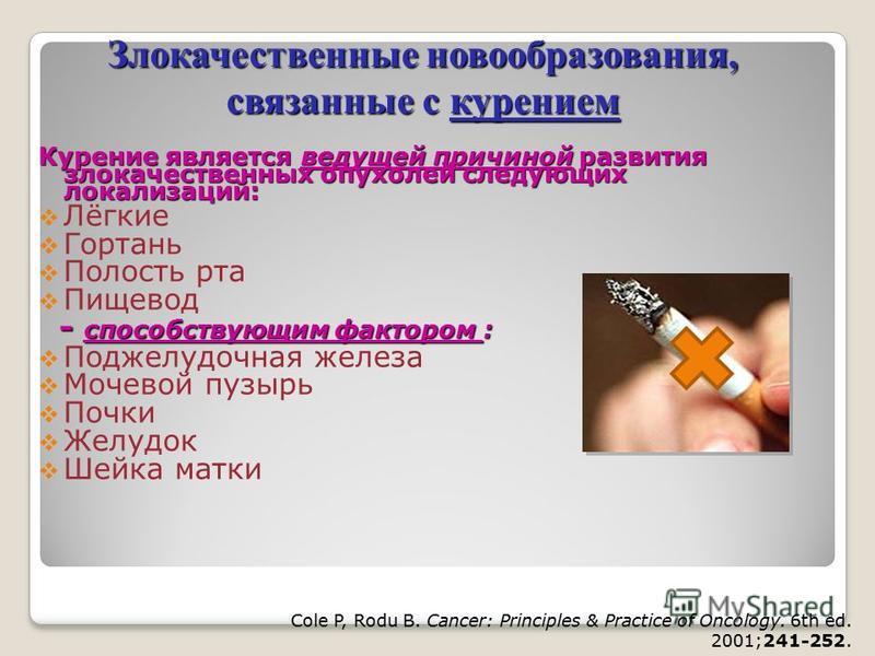 Курение является ведущей причиной развития злокачественных опухолей следующих локализаций: Лёгкие Гортань Полость рта Пищевод - способствующим фактором : - способствующим фактором : Поджелудочная железа Мочевой пузырь Почки Желудок Шейка матки Cole P