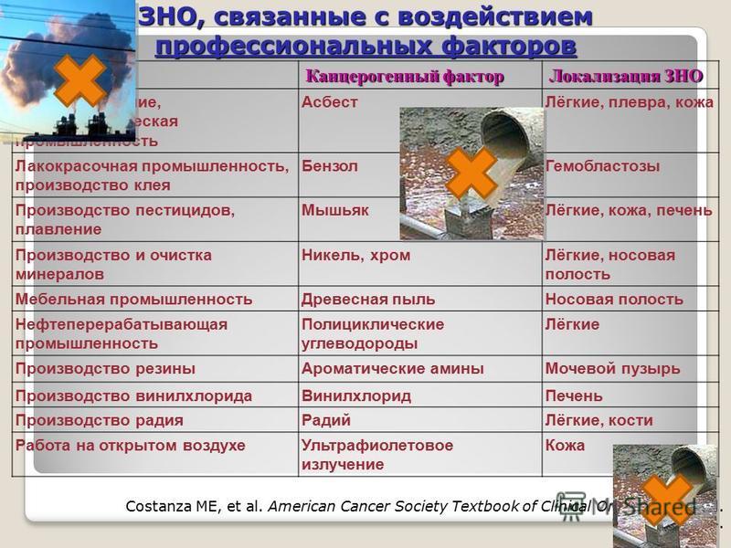 Costanza ME, et al. American Cancer Society Textbook of Clinical Oncology. 3rd ed. 2001;55-74. ЗНО, связанные с воздействием профессиональных факторов Производство Канцерогенный фактор Локализация ЗНО Кораблестроение, асбестотехническая промышленност