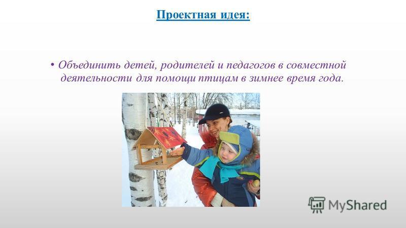Проектная идея: Объединить детей, родителей и педагогов в совместной деятельности для помощи птицам в зимнее время года.