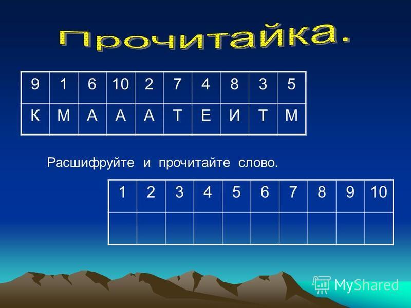 91610274835 КМАААТЕИТМ 123456789 Расшифруйте и прочитайте слово. 10 1 3