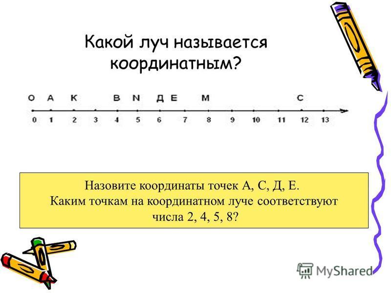 Какой луч называется координатным? Назовите координаты точек А, С, Д, Е. Каким точкам на координатном луче соответствуют числа 2, 4, 5, 8?