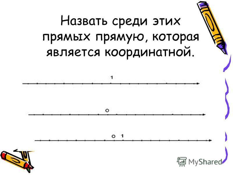 Назвать среди этих прямых прямую, которая является координатной.