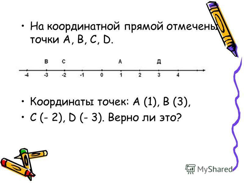 На координатной прямой отмечены точки А, В, С, D. Координаты точек: А (1), В (3), С (- 2), D (- 3). Верно ли это?