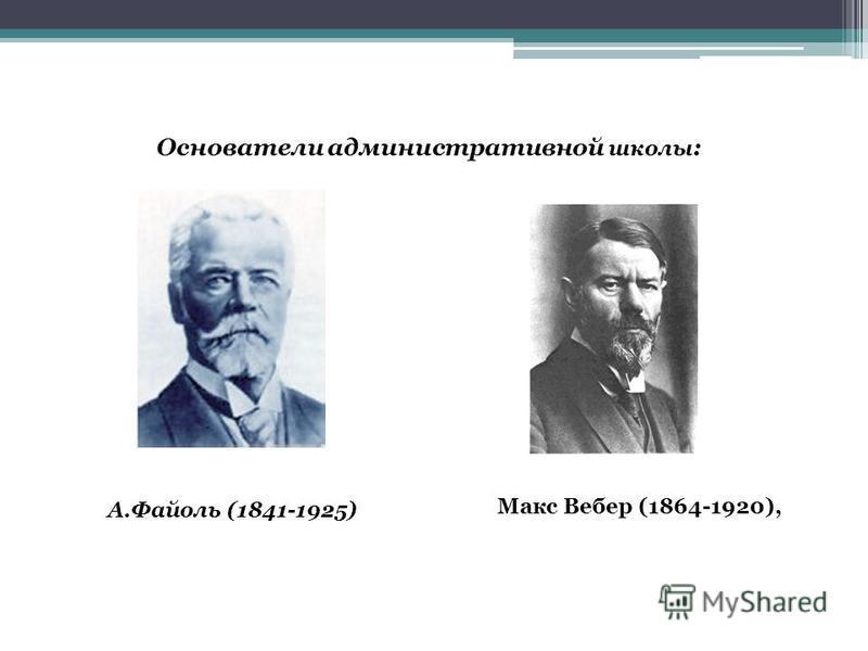 Основатели административной школы : А.Файоль (1841-1925) Макс Вебер (1864-1920),