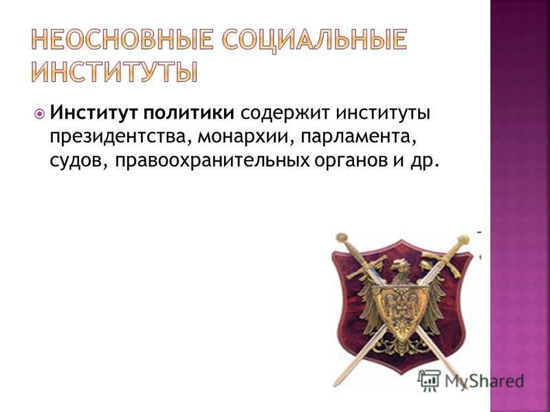 Институт политики содержит институты президентства, монархии, парламента, судов, правоохранительных органов и др.